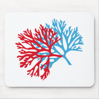 blue and red sea fan coral silhouette mousepad