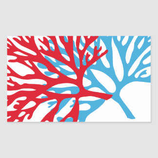 blue and red sea fan coral silhouette rectangular sticker