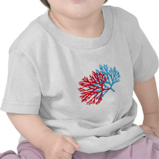 blue and red sea fan coral silhouette tshirts