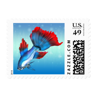 Blue and Red Siamese Fighting Fish Stamp