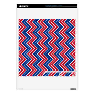 Blue and Red Sideways Chevron PS3 Slim Console Skins