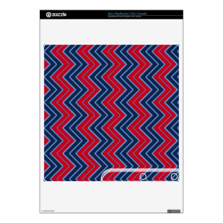 Blue and Red Sideways Chevron PS3 Slim Decal