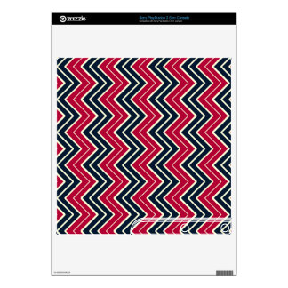 Blue and Red Sideways Chevron PS3 Slim Skins