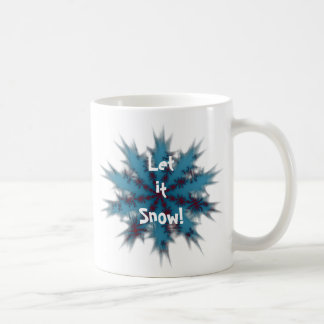 Blue and Red Snowflake Let it Snow Coffee Mug