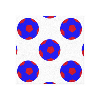 Blue and Red Soccer Ball Pattern Canvas Print