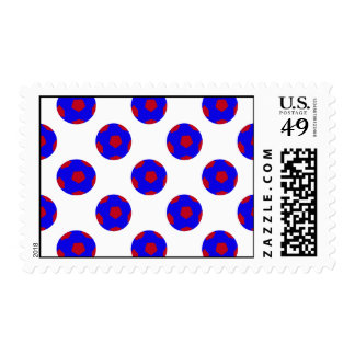 Blue and Red Soccer Ball Pattern Postage Stamps