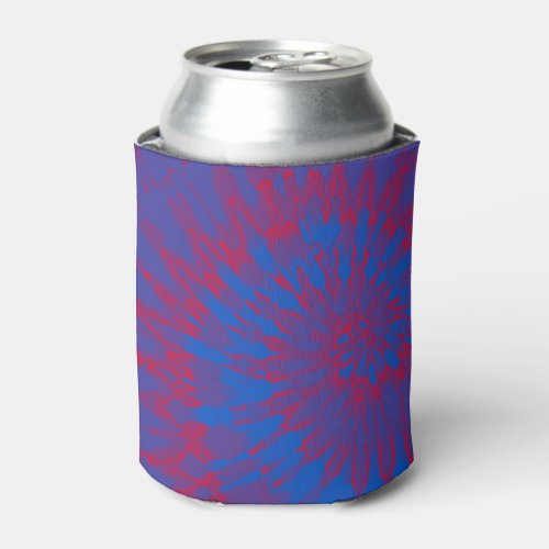Blue and Red Spiral Tie Dye Can Cooler