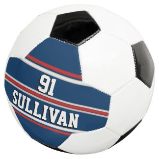 Blue and Red Sports Stripes w/ Player Name Number Soccer Ball