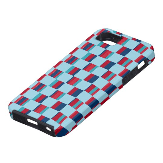 blue and red square pattern iPhone SE/5/5s case
