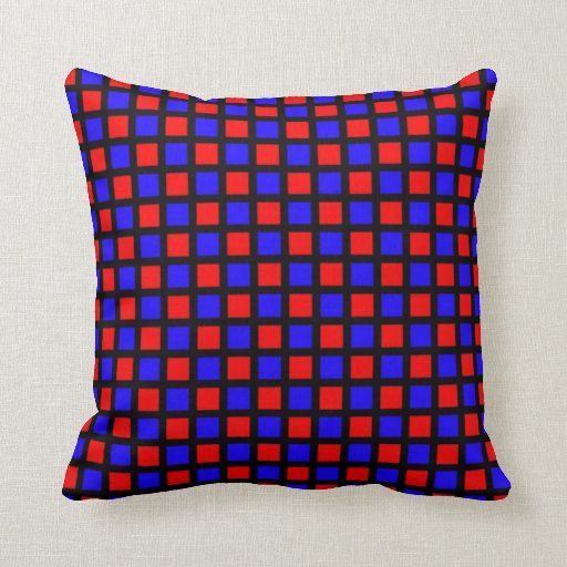 Blue and Red Squares on Black Grid Pillow