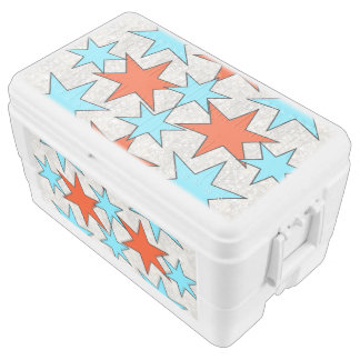 Blue and Red Star Print Chest Cooler