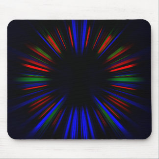 Blue and red starburst pattern mouse pad