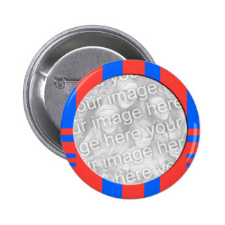 blue and red striped photo frame button