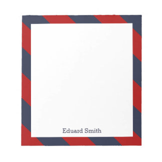 Blue and Red Stripes Personalized Notepad