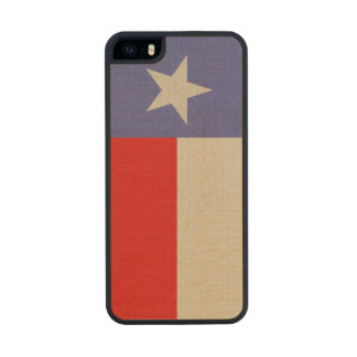 Blue and Red Texas Flag Fabric Carved® Maple iPhone 5 Slim Case