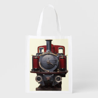 Blue And Red Train Grocery Bag
