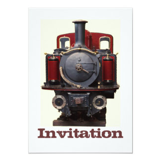 Blue And Red Train 5x7 Paper Invitation Card
