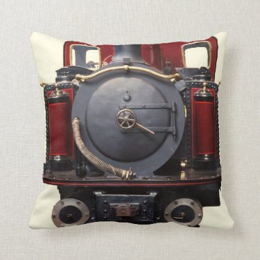 Blue And Red Train Throw Pillow