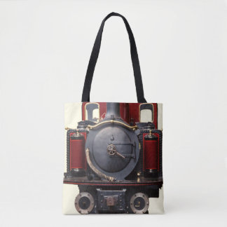 Blue And Red Train Tote Bag