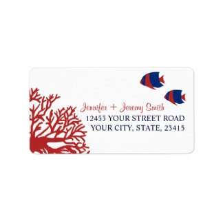 Blue and Red Tropcial Beach Address Custom Address Label