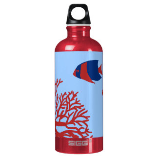 Blue and Red Tropical Angelfish Aluminum Water Bottle