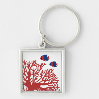 Blue and Red Tropical Angelfish Silver-Colored Square Keychain