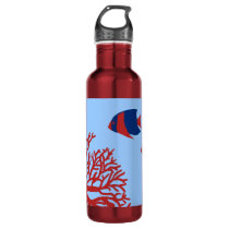 Blue and Red Tropical Angelfish Stainless Steel Water Bottle
