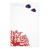 Blue and Red Tropical Angelfish Stationery