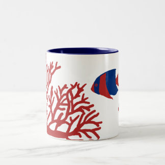 Blue and Red Tropical Angelfish Two-Tone Coffee Mug