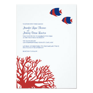 Blue and Red Tropical Coral Wedding Invitation
