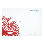Blue and Red Tropical Coral Wedding rsvp Custom Invite