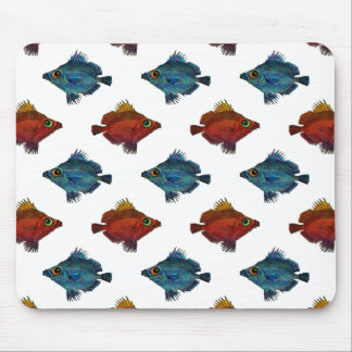 Blue and Red Tropical Fish ANY COLOR BACKGROUND Mouse Pad
