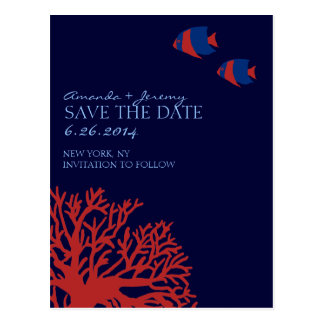 Blue and Red Tropical Fish  Save the Date Postcard