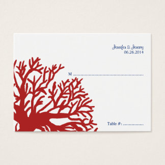 Blue and Red Tropical Fish Seating Card