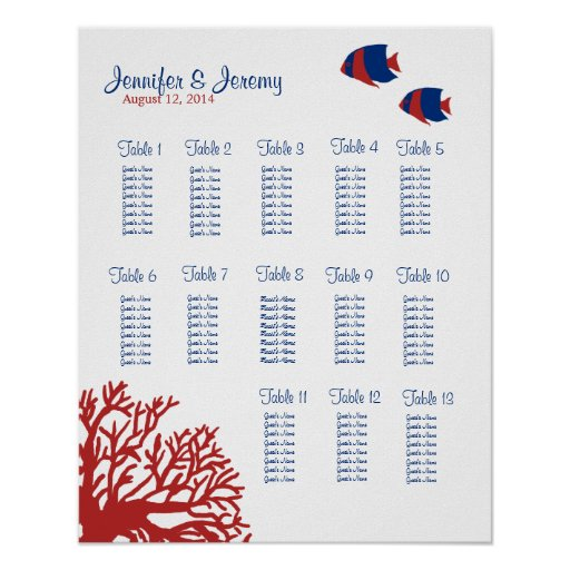 Blue and Red Tropical Fish Seating Chart 16x20 Print