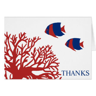 Blue and Red Tropical Fish Thank You Card