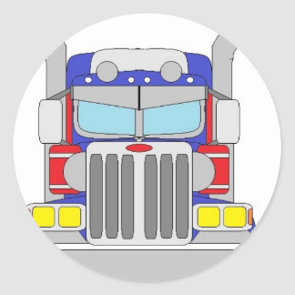 blue and red truck classic round sticker