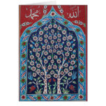 Blue and Red Turkish tiles TREE OF LIFE Greeting Card