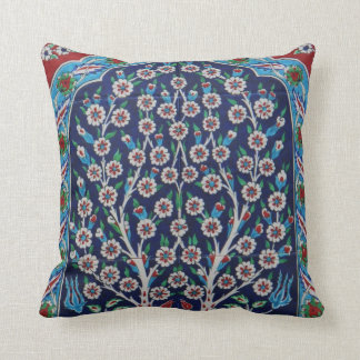 Blue and Red Turkish tiles TREE OF LIFE Throw Pillow