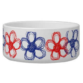 Blue and Red Wild Flowers Dog Water Bowls