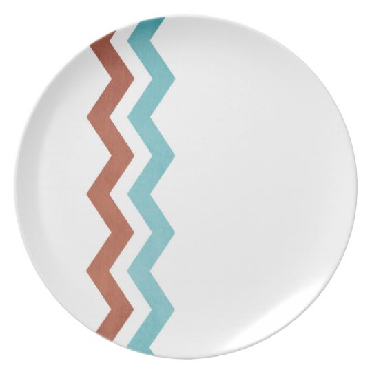 Blue and Red Zig Zag Pattern Melamine Plate