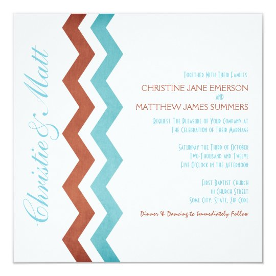 Blue and Red Zig Zag Wedding Invitations