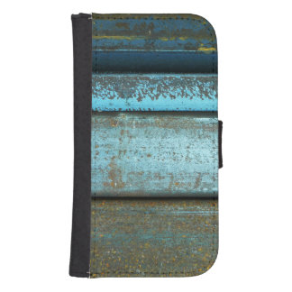 Blue and rust rugged weathered rusted metal phone wallet cases