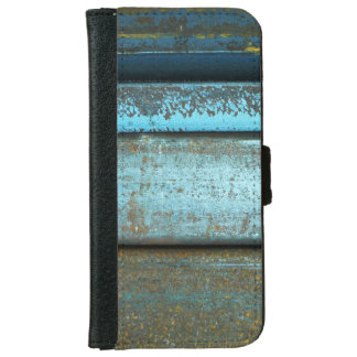 Blue and rust rugged weathered rusted metal wallet phone case for iPhone 6/6s