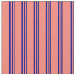 [ Thumbnail: Blue and Salmon Colored Stripes/Lines Pattern Fabric ]