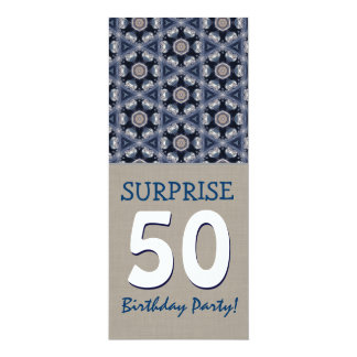 Blue and Sand Modern 50th Surprise Birthday Party Card