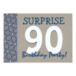 Blue and Sand Modern 90th Surprise Birthday Party Personalized Announcement