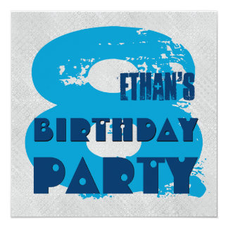BLUE and SILVER 8th Birthday Party 8 Year Old V11G Card