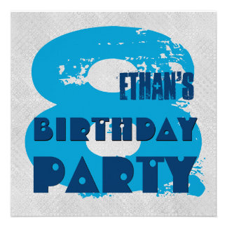 BLUE and SILVER 8th Birthday Party 8 Year Old V11G Custom Announcement