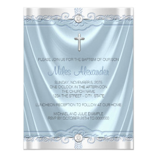 Blue and Silver Baptism Christening Card